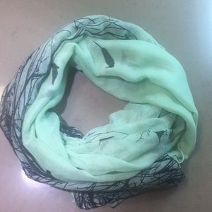 Light mint green and black bird print scarf
